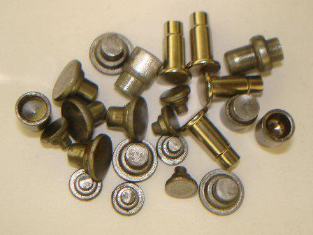 Rivets, pins and rollers