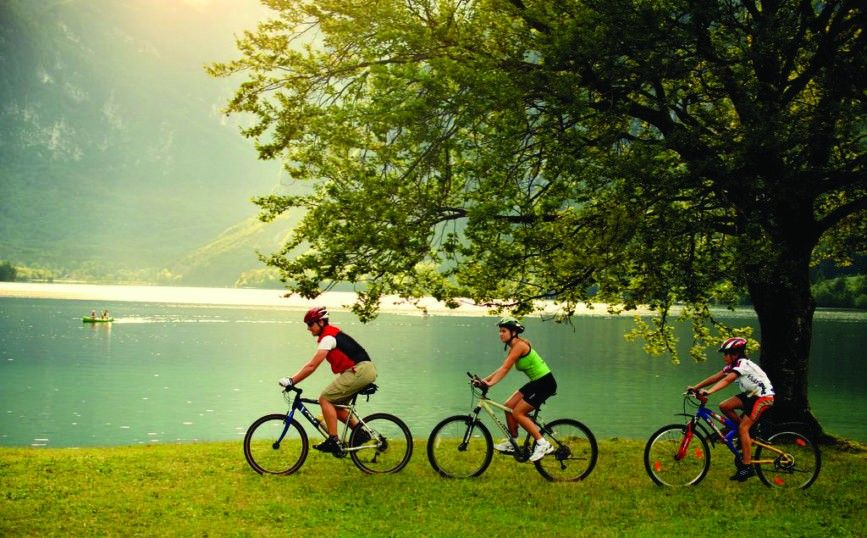 cycling Bohinj lake