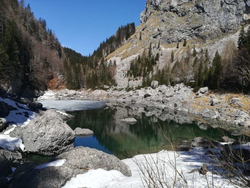 Savica waterfall in winter