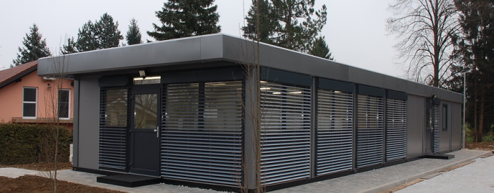 Temporary modular office buildings