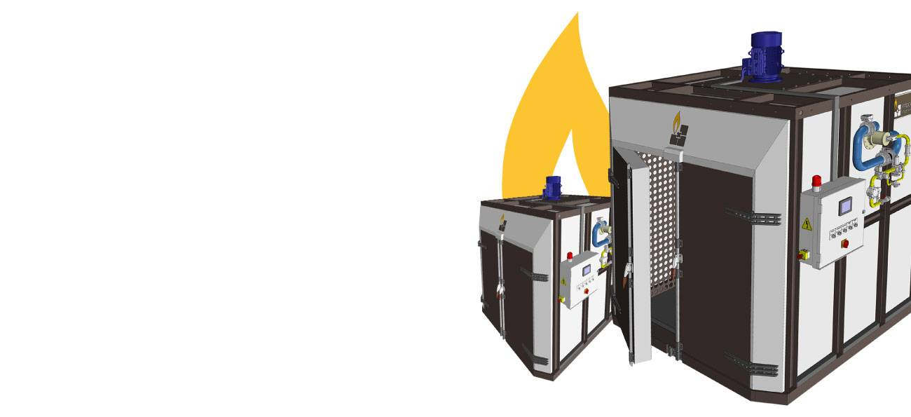 Industrial ivens for heating products below 600 °C
